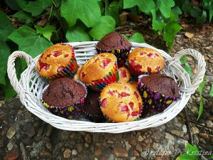 Мъфини с ягода и шоколадови